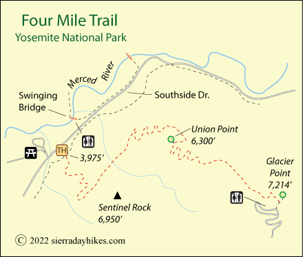 Four Mile Trail - Sierra Day Hikes Yosemite Map Of Glacier on concordia glacier, john muir glacier, cirque glacier,
